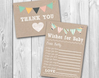 Wishes for baby, thank you card, baby shower bundle, printable, instant download