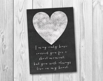 Miscarriage sympathy card, sympathy card, chalkboard sign, printable card, instant download