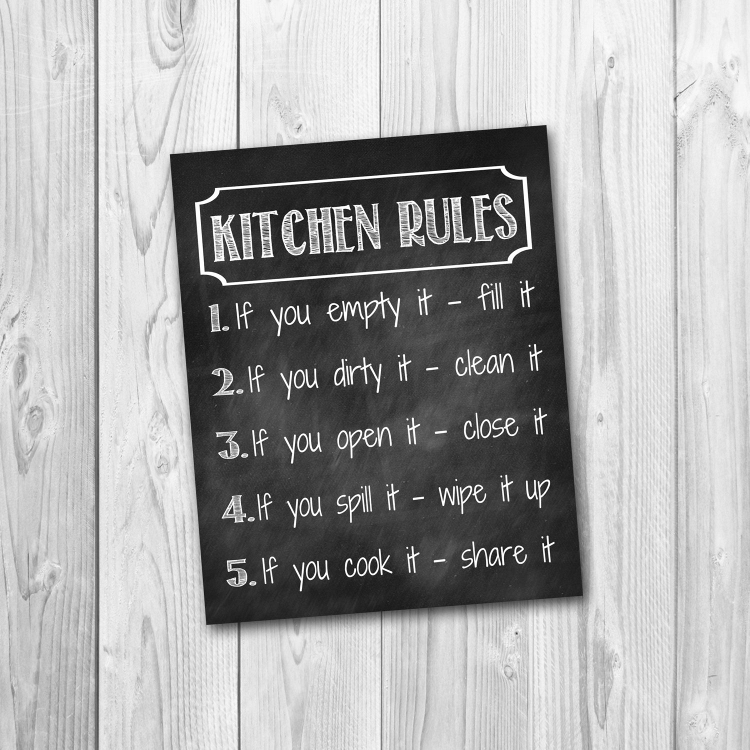 Chalkboard Sign Kitchen Rules Kitchen Decor Instant