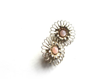 Vintage Gold and Peach Sunflower Earrings Moonglow Pink Center Big and Bold Clip Earrings Retro Mod Hippie