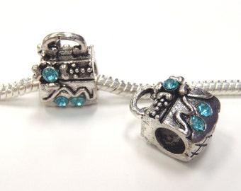 3 Beads - Blue Rhinestone Purse Silver European Charm Bead E1150