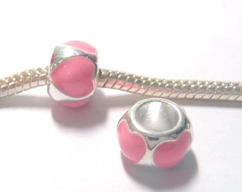3 Beads - Pink Heart Barrel Enamel Silver European Bead Charm E1321
