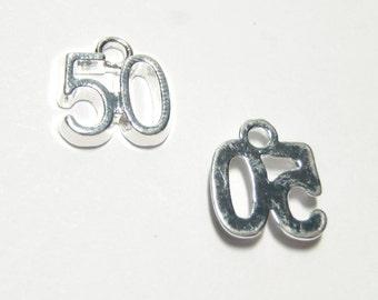 3 PCS - Number # 50 Alphabet Message Platinum Charm Pendant C0709
