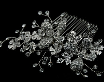 Bridal Hair Comb - Clear Rhinestone Crystal bridal hair comb