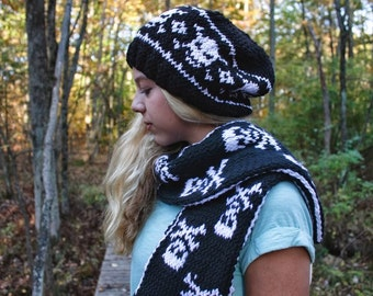 Hand Knit Skull Scarf and Hat Set