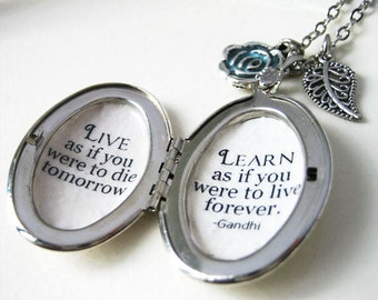Locket inspirational quote necklace gandhi learn as if you were to live forever pendant inspiring jewelry for women with inspiring message