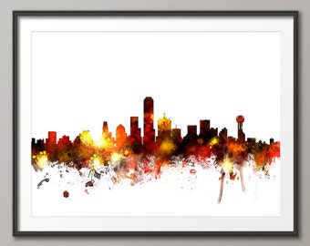 Dallas Skyline, Dallas Texas Cityscape Art Print (1082)