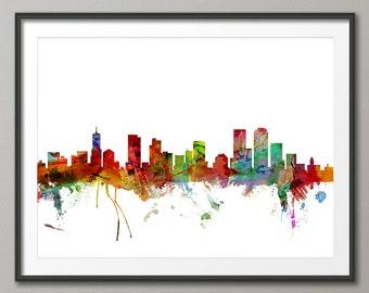 Denver Skyline, Denver Colorado Cityscape Art Print (1212)