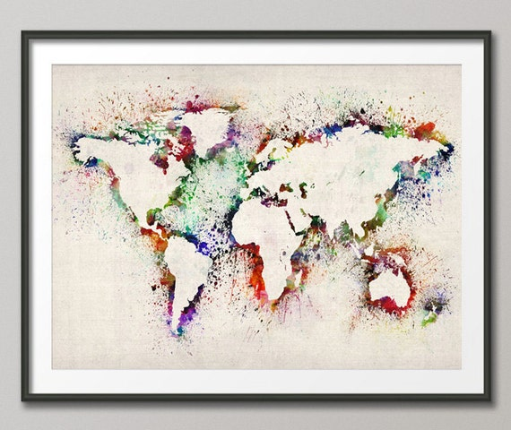 map of the world map abstract painting art print 778. Black Bedroom Furniture Sets. Home Design Ideas