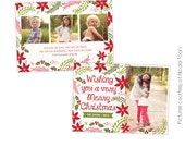 INSTANT DOWNLOAD - Christmas Photoshop card template - Christmas Spirit - E502