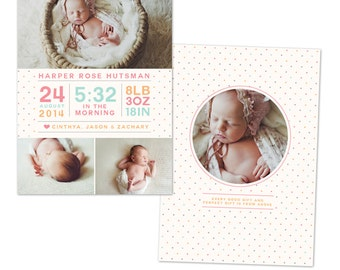 INSTANT DOWNLOAD - Photoshop Birth announcement template -  e1054
