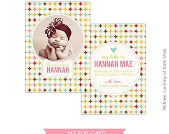 Birth announcement photoshop template - Retro Welcome - E310