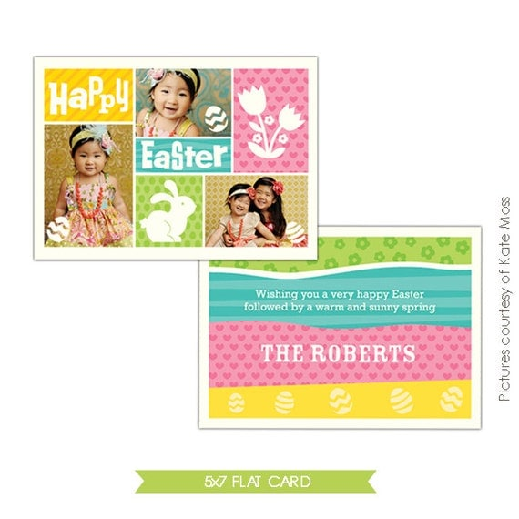 INSTANT DOWNLOAD - Easter Photocard - Photoshop Template - E336