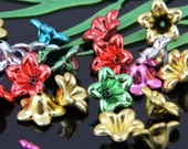 24 Flower Bead Caps Plastic Metallic Color Mix 12 x 6 mm  - bc127