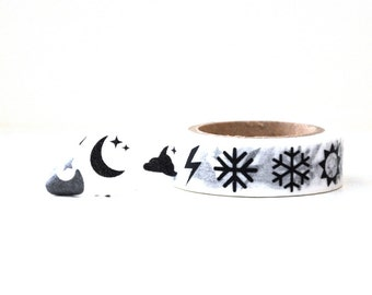 Weather Washi Tape -- Lightning Snowflakes Moon Stars -- Black and White