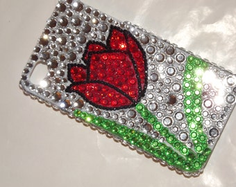 CUSTOM Rhinestone Bling Cell Phone Cover Case Tulip Iphone