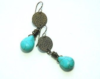 Turquoise Earrings, Dangle earrings, Green Turquoise Magnesite, Embossed Brass, Gift for her, Spring Fashion, Casual, Jewelry