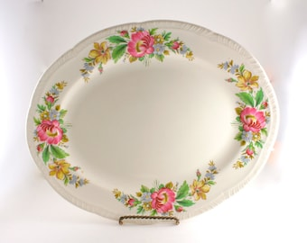40's Vintage Floral Serving Platter by Homer Laughlin, Spring Wreath by HOMER LAUGHLIN CO