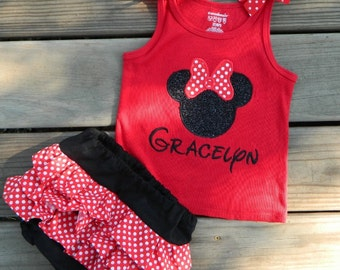 Minnie Mouse Tank or Shirt with matching Ruffled Bloomers