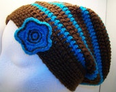 Blue and Brown Flower Slouch Hat