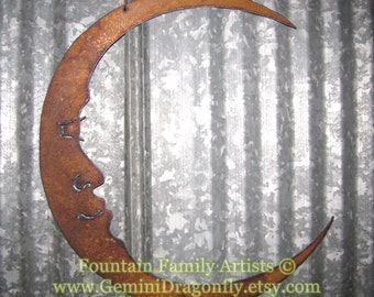 Rusty Crescent Moon / Man in the Moon Metal Garden Art / Recycled / Celestial Wall Art