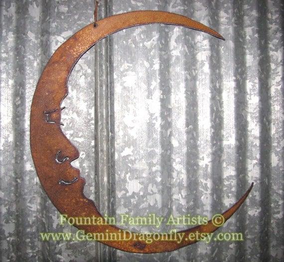 Rusty Crescent Moon / Man in the Moon Metal Garden Art / Recycled / Celestial Wall Art
