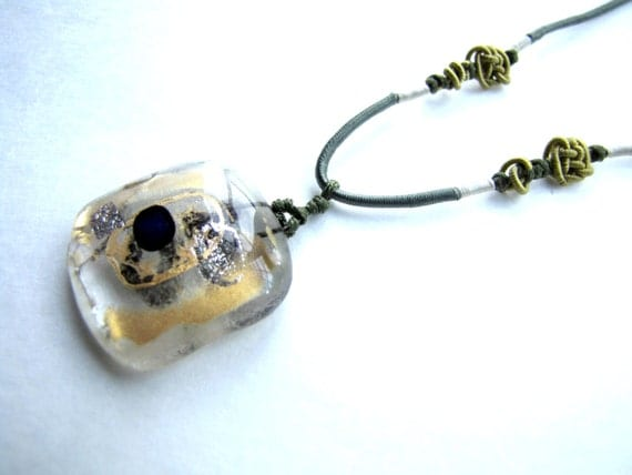 Gold and Silver Necklace Dichroic Glass Pendant Recycled Glass