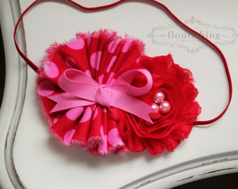 Valentine's Day Inspired headband, Red and Pink headband, baby headband, flower headbands, newborn headband, photography prop