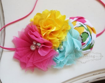 Pink, Aqua and Yellow headband, pink flower headbands, spring headbands, newborn headbands, photography prop