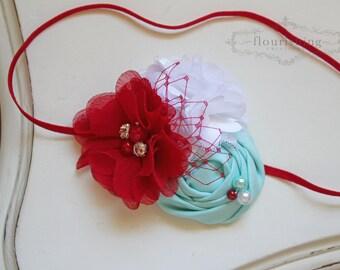 Red and Aqua flower headband, baby headbands, red headbands, dr. seuss headbands, newborn headbands, dr seuss headbands, photography prop