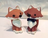 Woodland Foxes Wedding Cake Topper - Custom Cake Topper - Pick Bow Tie Color