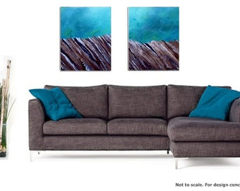 "CLEARANCE -Original acrylic painting - ""River Bottom""- 2 piece set-half price"