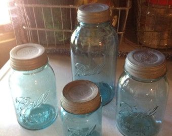 Vintage Flour Sugar Coffee Tea......Blue Glass Ball Jars as Canister  Set