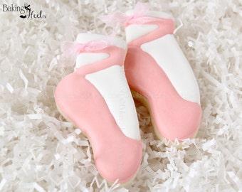 Ballet Shoe Decorated Cookies, Ballet Birthday Cookies, Ballerina Cookies, Dancing School Cookies, Ballerina, Pointe, Dance Recital