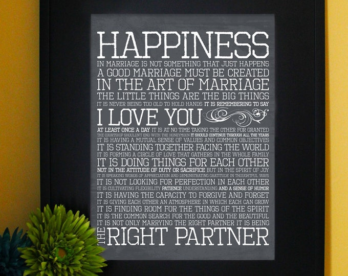 The Art of Marriage, FULL version, Wedding Vows, Inspirational Quote printed. Subway Art. Unframed.