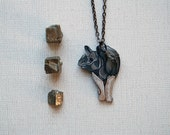 Rhino Necklace / Rhinoceros Necklace / Metallic Collection / Gray Grey  / Silver / African / Animal of Africa - PeriwinkleNuthatch