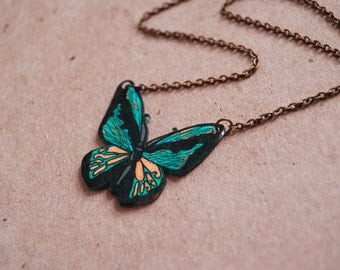 Goliath Birdwing Butterfly Necklace, Shrink Plastic Jewelry, Insect, Entomology, Aqua and Black, Wearable Art