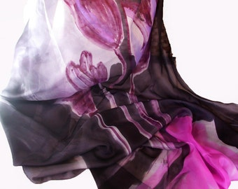 Hand painted silk shawl/Hand painted Woman Scarf/Exotic flowers/Abstract Art shawl/Woman silk scarf/Luxury  shawl/Long luxury shawl/H0199