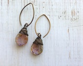 Wire Wrapped Picasso Purple/Bronze Earrings, Drop Earrings, Dangle Earring