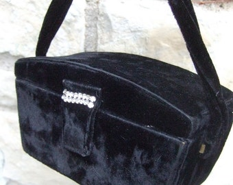 1950s Black Velvet Box Style Evening Bag