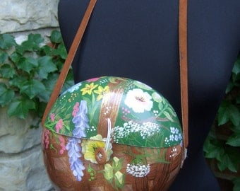 Unique Artisan Hand Painted Gourd Shoulder Bag c 1970s