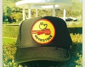 Vintage 70s WOODSTOCK Patch stitched on New Black Snap-back Trucker Cap / Hat