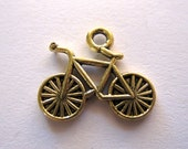 Bicycle Charms 2 Sided Antique Gold Bicycle Charm Lot of 8 by BySupply