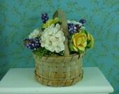 Flower arrangement in basket 1:12 miniature.