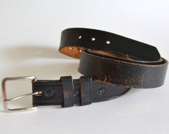 Vintage Leather Belt with Silver Metal Buckle. 39 to 47 waist.  Weathered & Worn Black and Brown Dark 38 39 40 41 42 43 44 45 46 47