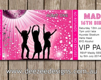 Disco Dance Personalised Ticket Style Birthday Invitations - YOU PRINT