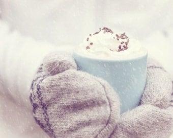 Holiday Decor - Kitchen Art - Teacher Gift - Hostess Gift - Snow - Whimsical - Winter - Fine Art Photography Print - White Blue Home Decor
