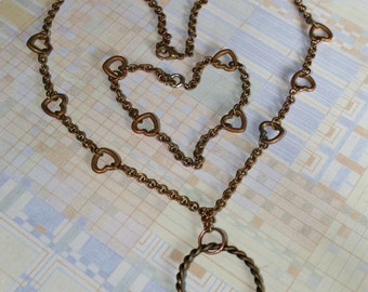 Vintage Copper Necklace and Bracelet Set - The Key to My Heart - 1950s