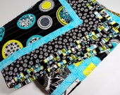 Patchwork Quilt, Throw Size, Child's Quilt, Bugs, Black, White, Aqua, Yellow