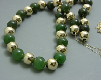 14k gold and Jade Add-a-bead necklace